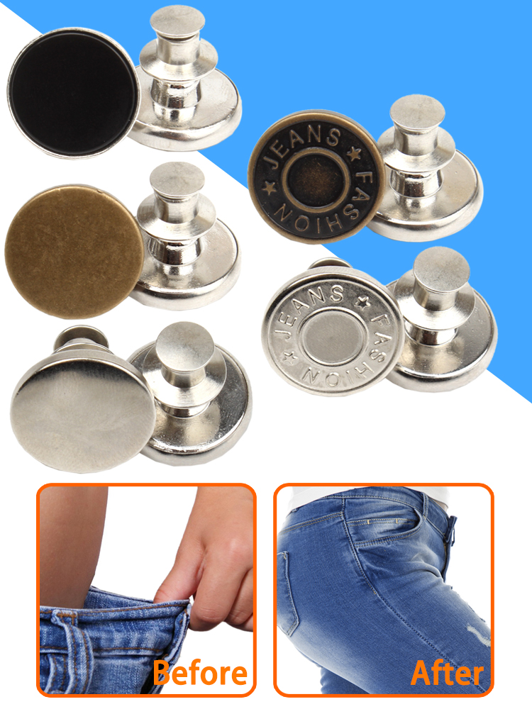 Snap Fastener Jeans Pants Pin Detachable Metal-Buttons Button-Sewing-Free Perfect-Fit