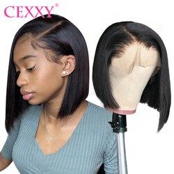 CEXXY 13x4 Kurze Bob Perücken Mit Baby Haar Europäischen Gerade Spitze Vorne Menschenhaar Perücken 8 ''-14'' Glueless 4x4 Spitze Schließung Perücken