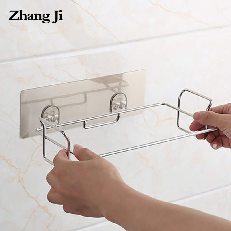 Multi-functional Bag Holder Shelf Stainess Steel For Kitchen Cabinets Doors And Cupboards Durable And Traceless Trash Bag Holder