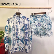 ZIWWSHAOYU Women Fashion Summer Bohemian Vacation Suits long Sleeve Print Tops And Ladies Hollow Out Shorts 2 Two Piece Set