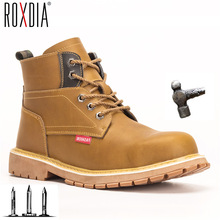 ROXDIA brand men safety shoes with steel toe cap Genuine leather women work boots sneakers casual male shoes plus size RXM174