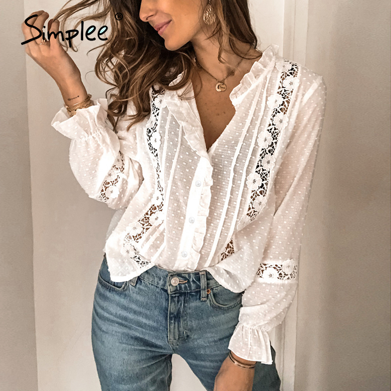 Simplee Holiday Spring Summer Chic White Blouse Vintage Hollow Out Female Office Ladies Tops Casual Lace Long Sleeve Short Tops