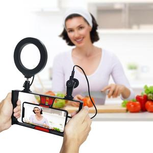 Image 5 - PULUZ 4 en 1 vlog diffusion en direct appareil vidéo pour Smartphone + 4.6 pouces anneau LED lumière vidéo et Microphone + montage sur trépied + tête de trépied