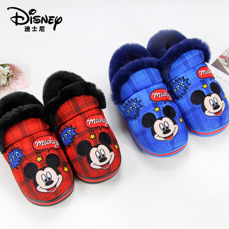 Disney Children's Cotton Shoes 2019 Winter New Boy Home Non-slip Cotton Drag Mickey Mouse Shoes Parent-child  Girls Slippers