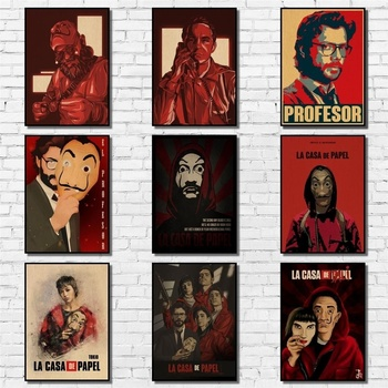 La Casa De Papel Poster Kraftpaper Money Heist Poster Art Painting Abstract Fancy Wall Sticker for Coffee House Bar image