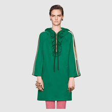 2019 New Spring/Summer Green Retro Loose Dress Stars Hooded Zippers Straights Fashion Sweatshirt Dresses Women