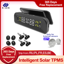 Auto-Alarm-Monitor Monitoring-Pressure-Display Solar-Power 4-Sensors E-Ace tpms Car-Tire