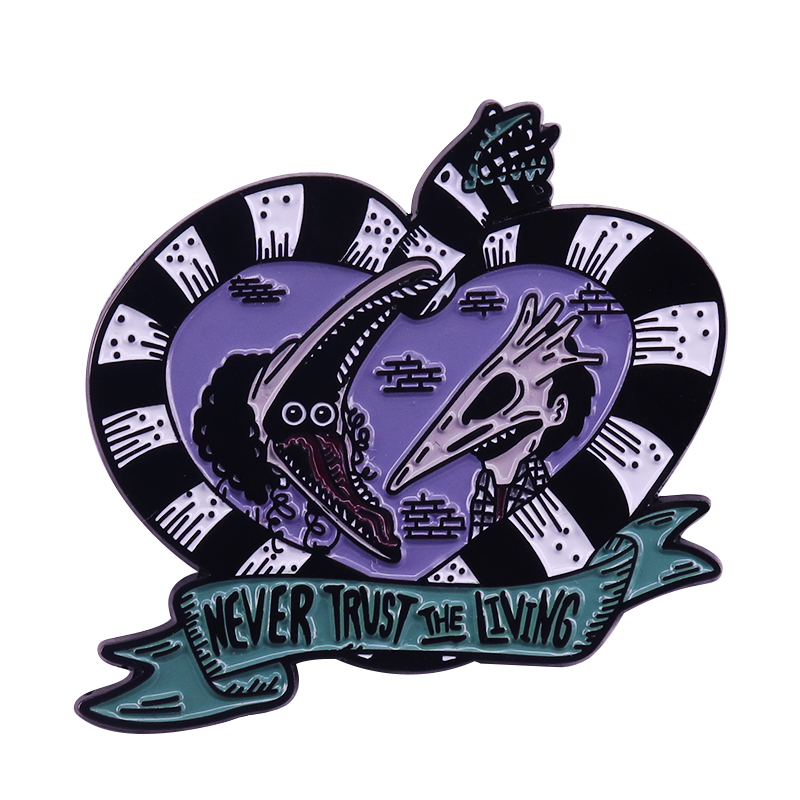 Never trust the living Adam and Barbara pin horror movie fans perfect gift