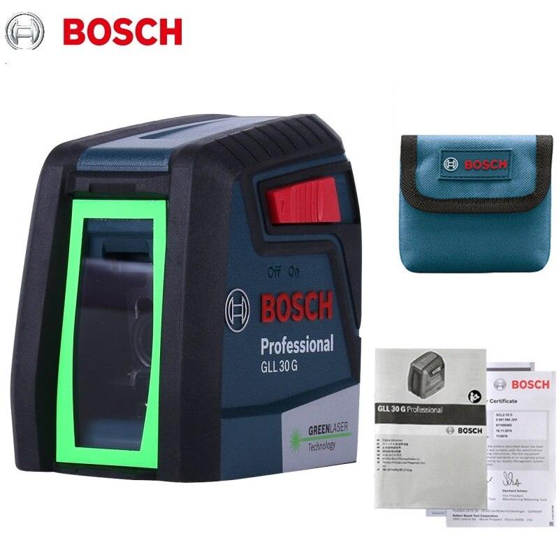 Лазерный нивелир Bosch GLL30G, высокоточный зеленый светильник, двухлинейный горизонтальный и вертикальный лазерный нивелир, светильник