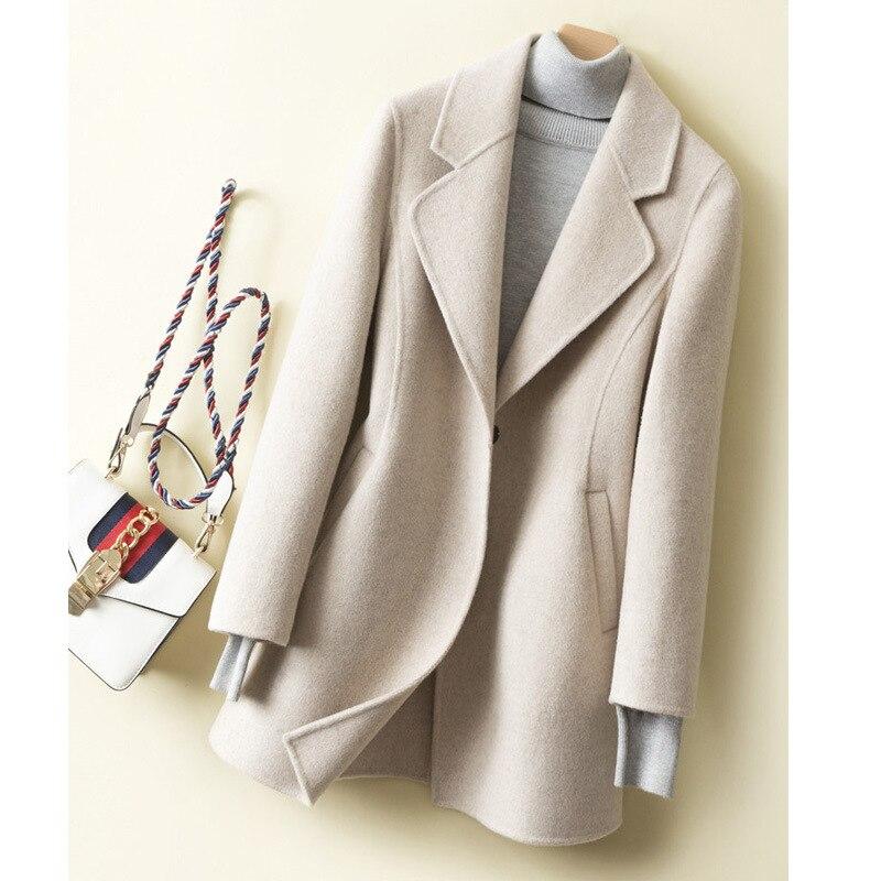 2019 Autumn And Winter New Slim Small Woolen Coat Female Short Paragraph Nizi Shirt Hepburn Wind   Tide