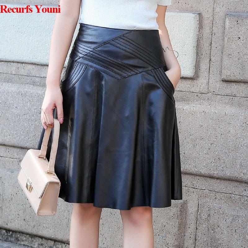 M-6XL Plus Size Skirt Women Genuine Leather High Waist Midi Skirt Female Black 60 Cm Long Faldas Mujer Real Skin Pleated Jupe