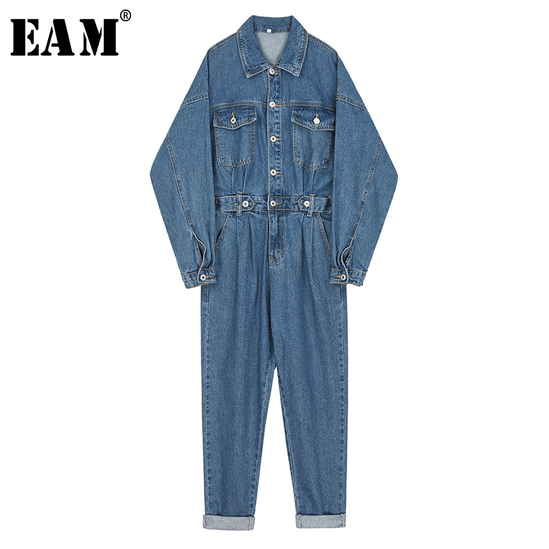 [EAM] Loose Fit Women Blue Long Denim Leisure Jumpsuit New High Waist Pocket Stitch  Pants Fashion Tide Spring Autumn 2020 1N785