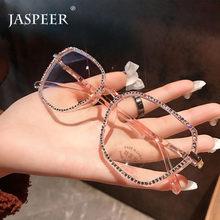 JASPEER Luxus Diamant Anti Blau Gläser Frauen Strass Computer Brillen Männer Blau Licht Blockieren Brillen Rahmen