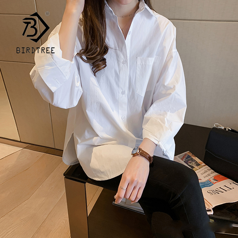 New Arrival Women White Blouse Batwing Long Sleeve Pockets Oversize Shirt Turn-Down Collar Top Blusa Femenina T99202F