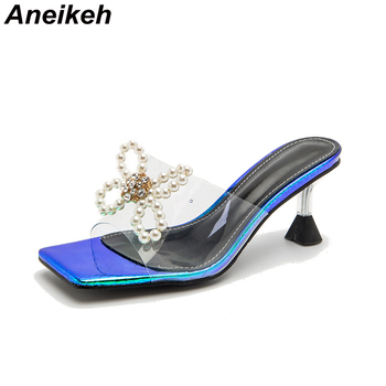 Aneikeh 2021 Butterfly-Knot Summer Striped Fashion Square Toe PVC Women Shoe Spike Heels Slides Outside Shallow White Size 36-43