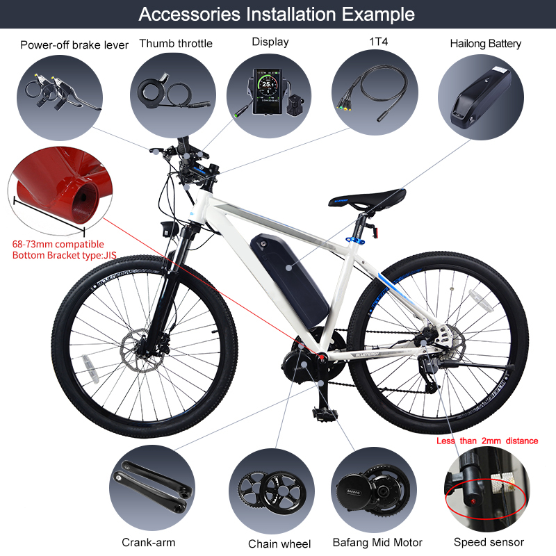 Perfect 48V 750W Bafang BBS02B Mid Drive Motor Electric Bike Conversion Kit with Lock 12Ah/17.5Ah Bicycle Battery built in Samsung Cell 24