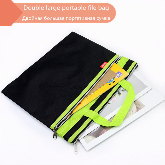 2017 new zipper Oxford cloth document file bag large sizes waterproof double layer holder computer folders filling products