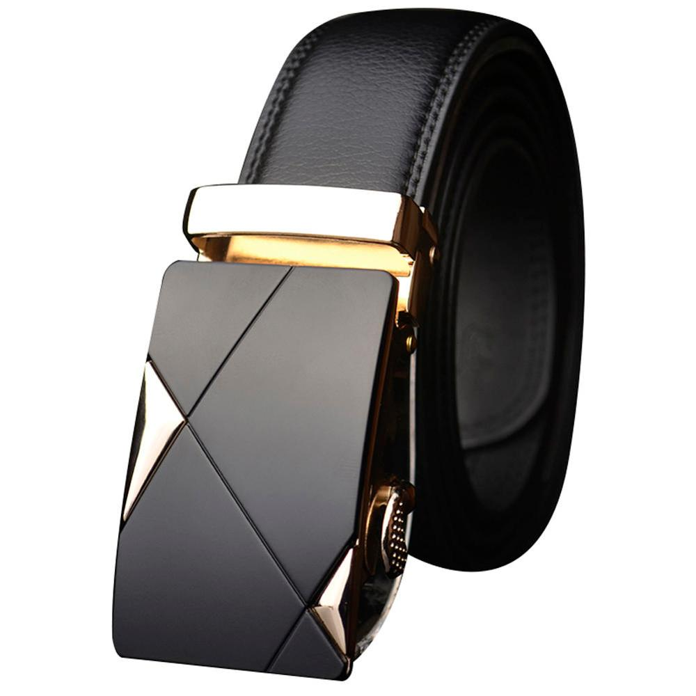 Fashion Men Luxury Designer Automatic Ratchet Buckle Belt PU Leather Belt Waist Ratchet Business Waistband 110-130cm