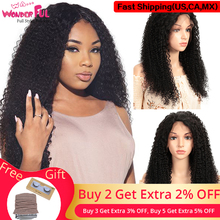 WA...WONDERFUL Kinky Curly 13X4 Lace Front Wig Remy Human Hair Wigs Natural Color 8 30 32 Inch  13X4 LACE Kinky Curly Lace Wig