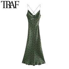 TRAF – robe mi-longue Vintage à pois pour femmes, tenue Chic avec nœud, dos nu, bretelles fines croisées, à la mode