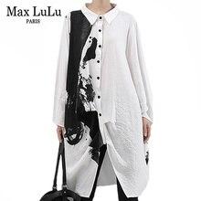 Max LuLu 2019 Korean Luxury Ladies Autumn Punk Streetwear Women Oversized Long Shirts Vintage Tops Printed Blouses Loose Clothes