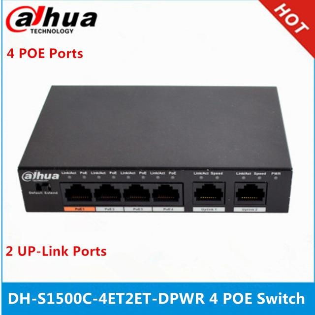 Dahua 4ch PoE Interruttore DH S1500C 4ET2ET DPWR 4CH Switch Ethernet con 250m di Alimentazione di Transito Distanza di Supporto PoE PoE + & Hi PoE Protocollo