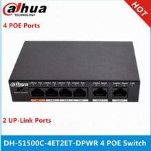 Dahua 4ch PoE anahtarı DH S1500C 4ET2ET DPWR 4CH Ethernet anahtarı 250m güç Transit mesafe desteği PoE PoE + ve yüksek poE protokolü