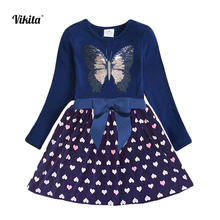 VIKITA Kids Autumn Dress for Girls Children Sequined Butterfly Dresses Toddlers Long Sleeve Cotton Vestidos