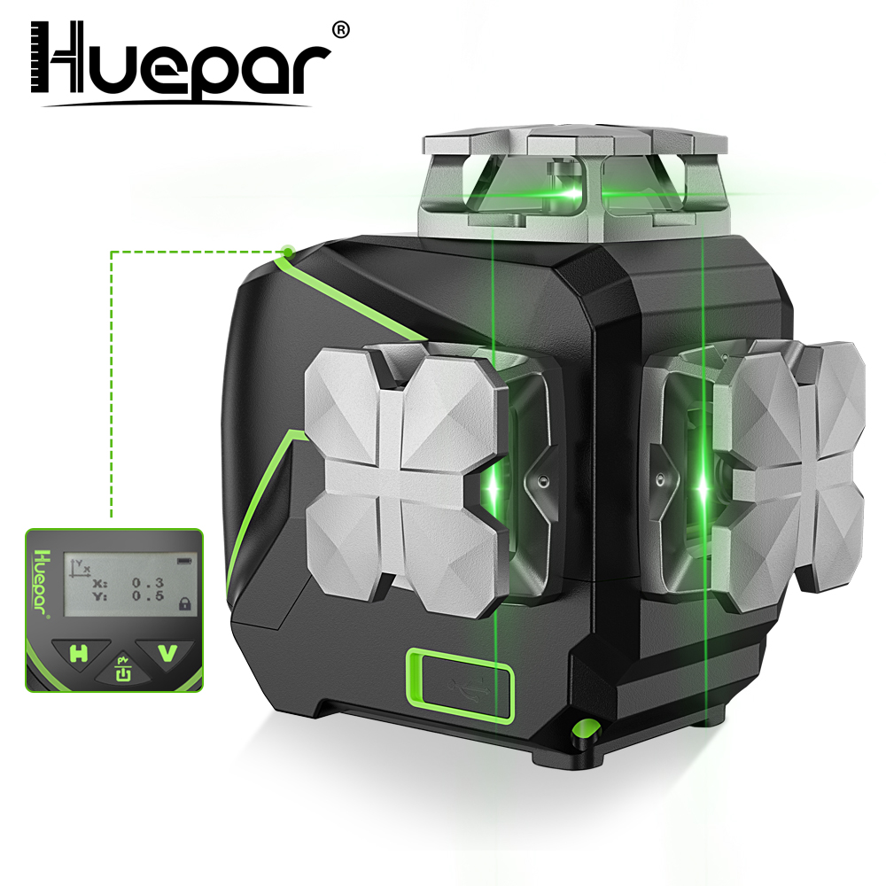 Huepar 3D LCD Display Cross Line Laser Level 12 Lines Green Beam Bluetooth  amp  Remote Control Functions S03CG With Hard Carry Case