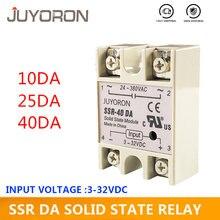 SSR-25DA 10da 40da relé de estado sólido 25a 10a 40a módulo 3-32v dc entrada 24-380v ac ssr 25da relé para o controlador de temperatura