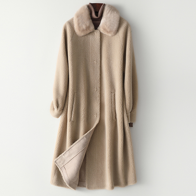 Cute Mink Collar Long Pockets Covered Button Thick Warm Real Fur Special Wool Sheepskin High Quality Outwear Women Winter Coat