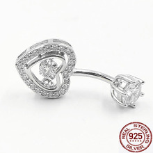 925 silver heart crystal belly piercing ombligo navel body jewelry allergy free 2019 fashion