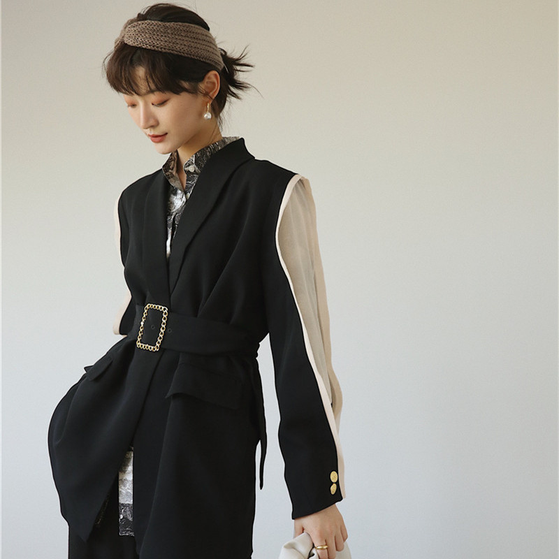 Women blazers and jackets female fashion 2019 autumn casual long sleeve belted office lady black business blazer feminino