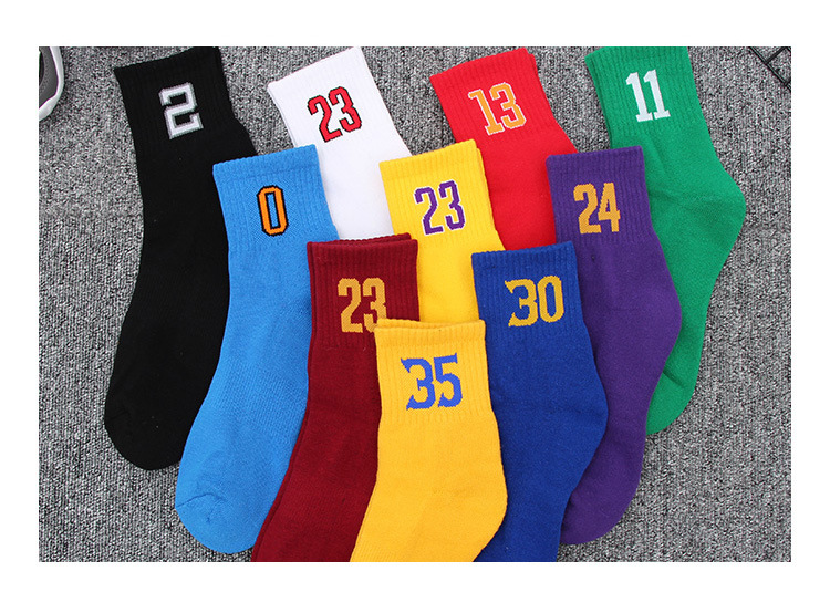 Mens Sports Anti-skid Happy Short  Socks Cotton Team Digital Socks Cotton Shock Basketball Football Elite Socks  Street Fashion