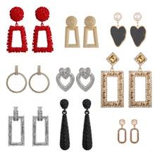 Модные серьги для женщин золотые серебряные черные красные массивные серьги-гвоздики серьги из сплава металлов ювелирные изделия аксессуары
