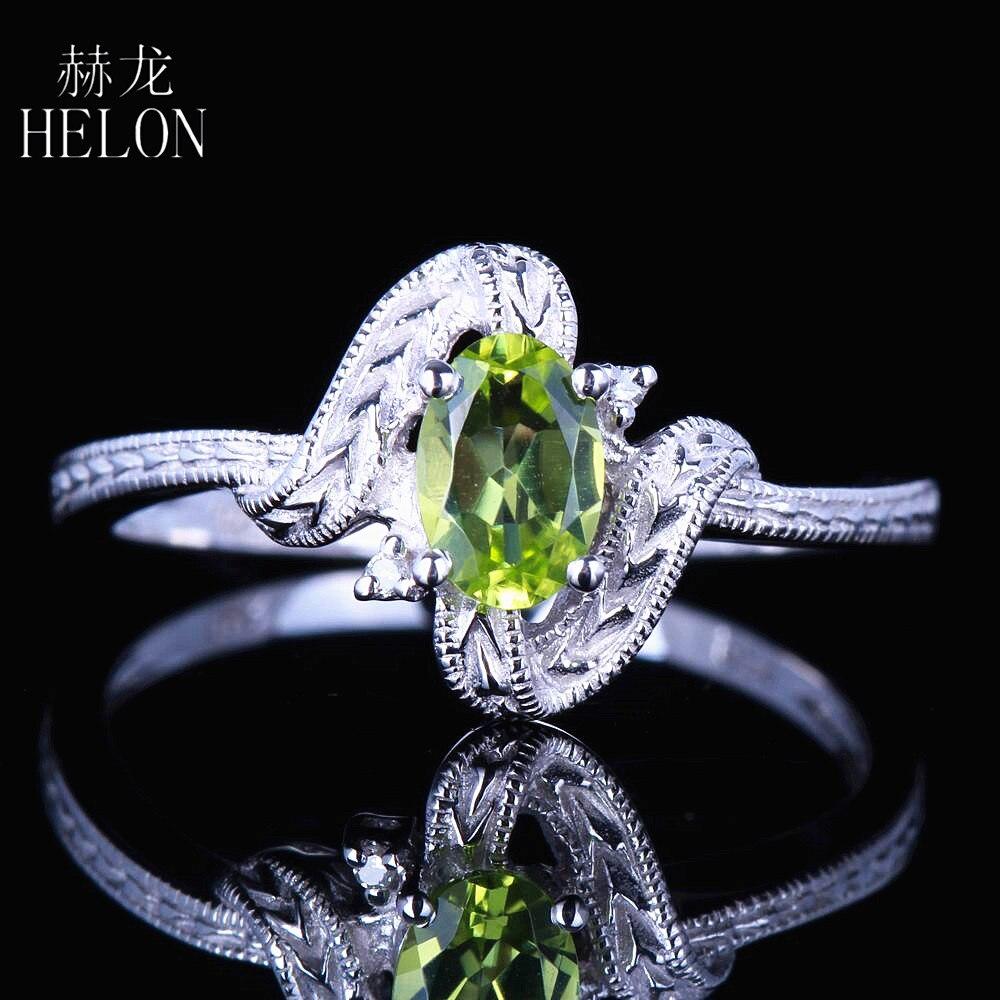 HELON solide 10k or blanc certifié ovale véritable péridot naturel et diamant Vintage Antique bague de fiançailles de mariage en gros