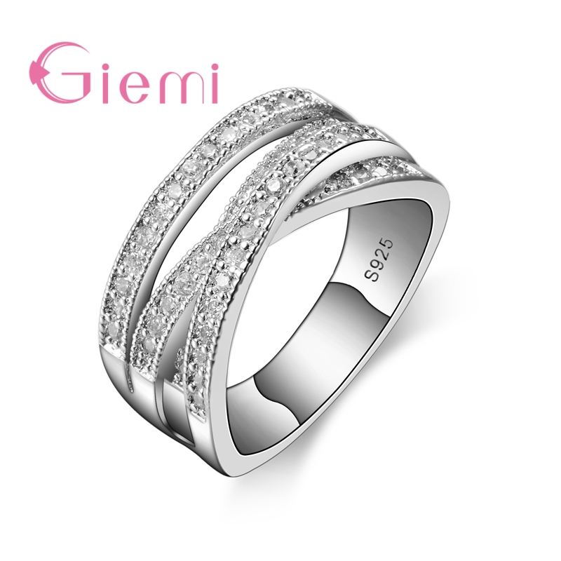 Luxury 925 Sterling Silver Endless Beauty Twisting Wave Cubic Zircon Finger Ring for Women Engagement Jewelry Gift Anillo