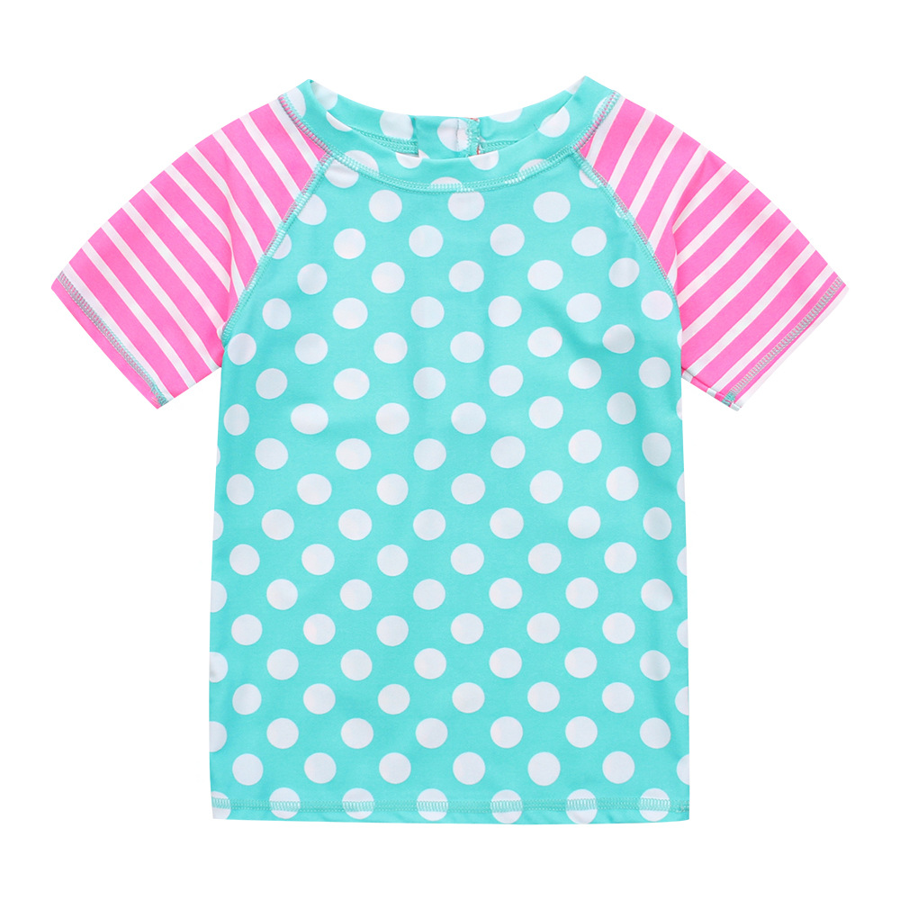 Dotted CHILDREN'S Short-sleeved Clothes Tour Bathing Suit Girls Warm Bathing Suit Children Anti-UV Surf Wear A Generation Of Fat