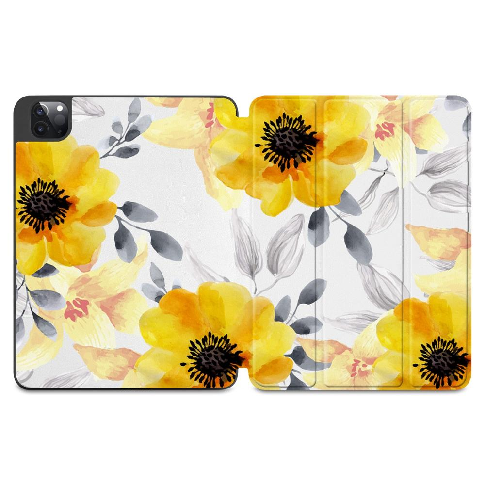 X006 Blue Flowers Print Case for Apple iPad Pro 11 2020 2018Full Body Protective Rugged Shockproof Case with
