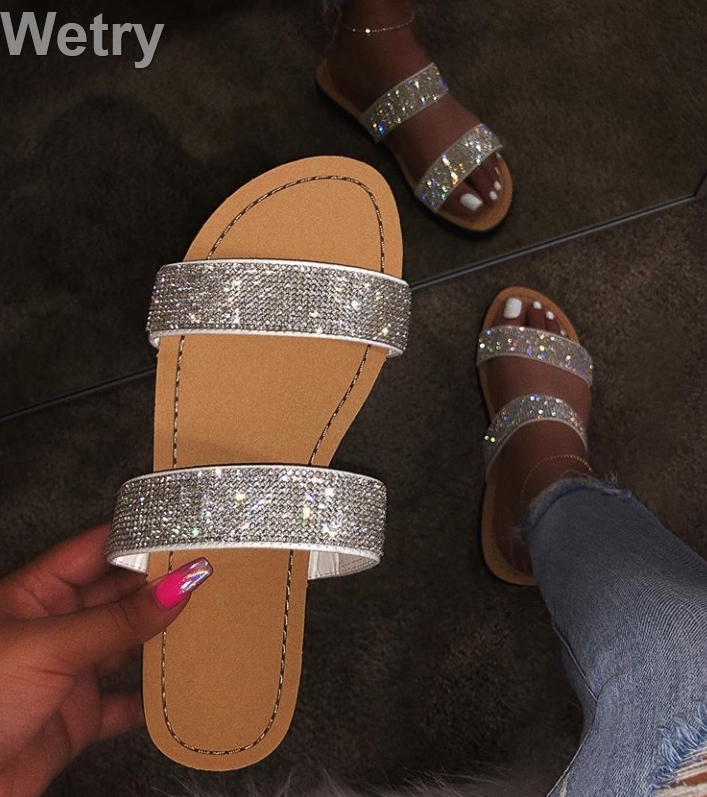Dimond women slippers summer crystal Hollow flat Slide ladies open toe Comfort slip on Outdoor beach sandals woman shoes