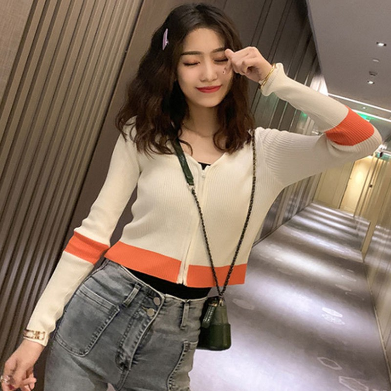 Women Cardigan Knitted Sweater Long-sleeved V-neck Slim Casual Zipper Sweater Top