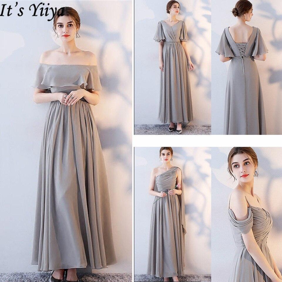 It's YiiYa Bridesmaid Dress 2019 Elegant Sleeveless Plus Size A-Line Ankle-Length Lace  Boat Neck Vestido Madrinha LX696