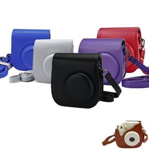 Image 2 - Deri kamera askısı çantası telefon koruyucu koruyucu omuz askısı Polaroid fotoğraf kamerası Fuji Fujifilm Instax Mini8 8 + 9