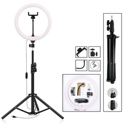 12 Dimmable Photography Lighting LED Selfie Ring Light 30cm Ring Lamp With 160cm    Tripod For Youtube Makeup Video Live Studio