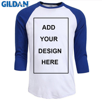 Customized T Shirt Men Design O-Neck T-shirt Men's Casual 100% Cotton 3/4 Sleeve Tshirt Hot Sale Raglan Jersey Shirt Man