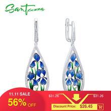 SANTUZZA Zilveren Bloem Oorbellen Voor Vrouwen 925 Sterling Zilver Dangle Blauw Bloemblaadje Oorbellen Zilveren Glanzende CZ Sieraden Handgemaakte Emaille