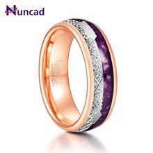 8mm cor de ouro rosa incrustada meteorito ágata roxa homem anéis de carboneto de tungstênio seta retro aço tungstênio anelli uomo jóias