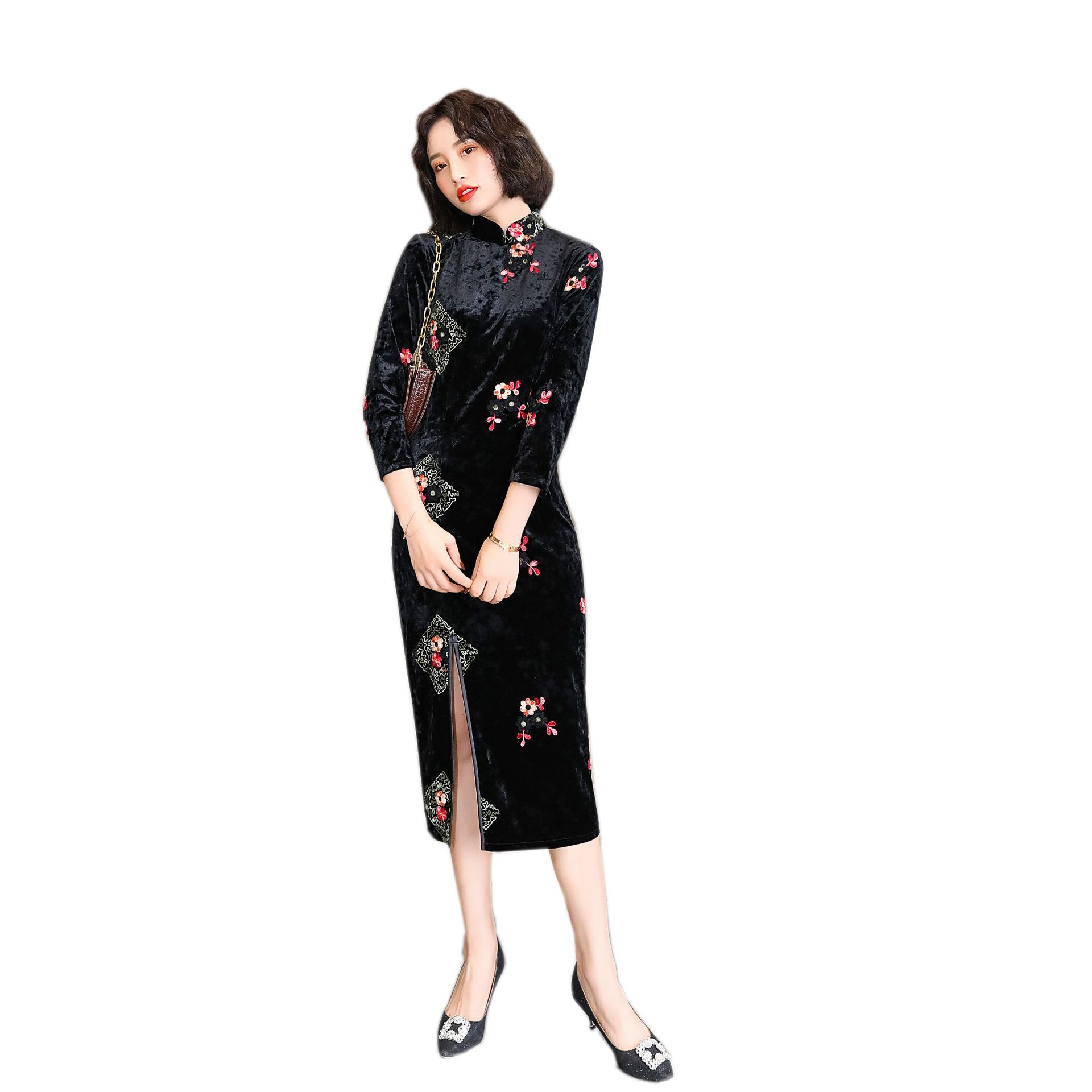 2020 Chinese Dress Qipao Dress Chinese Dresses Traditional Print Cheongsam Modern Qipao Dress Female Cotton Qipao Dress
