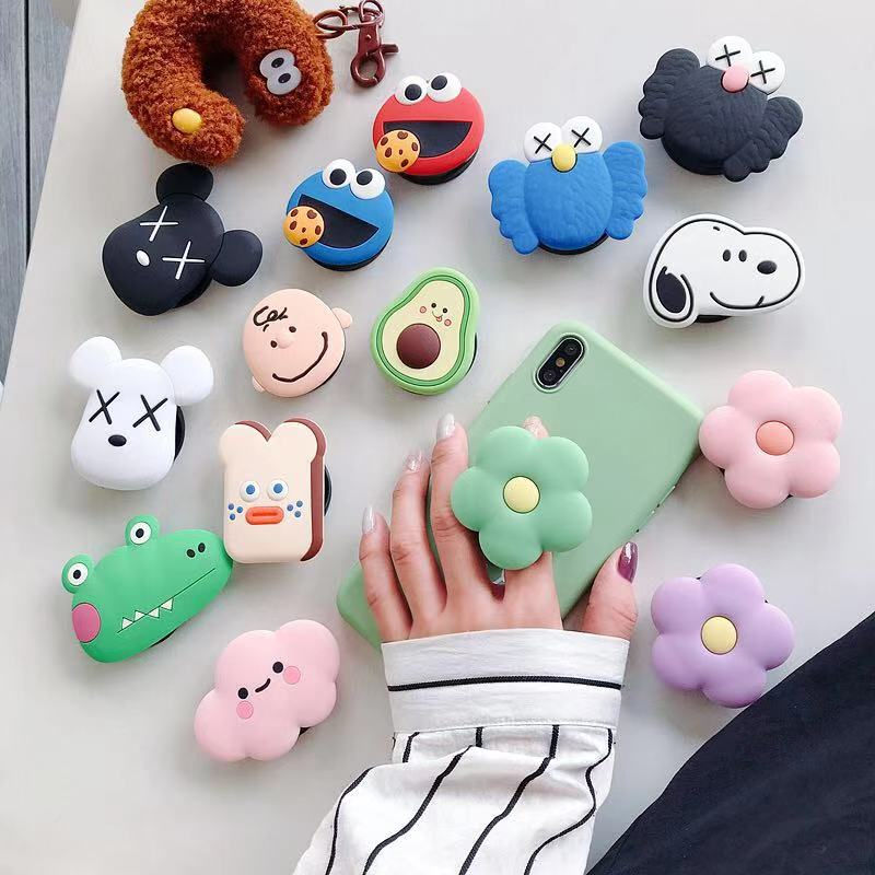 Cute Cartoon Phone Stand Bracke Stand Stretch Grip Phone Holder Finger Airbag Gasbag Fold Stand Bracket Mount For Iphone7 8 Plus