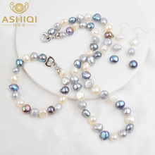 ASHIQI Natural Baroque Pearl Jewelry Sets for Women 9-10mm Freshwater Pearl NE+BR+EA ashiqi natural freshwater baroque pearl layered necklace women 4 8mm 5 rows bohemia handmade jewelry fashion